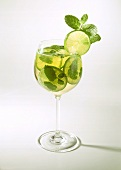 Herb punch with lemon balm & lime slices