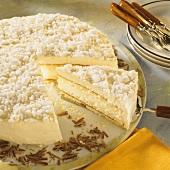 Cheesecake with meringue crumbs & chocolate curls