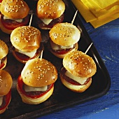 Mini Hamburgers on Sesame Seed Buns