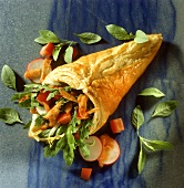 Puff pastry cone filled with salad and vegetables
