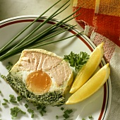 Fish and herb terrine with hard-boiled egg & chives