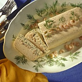 Salmon terrine with shrimps and sprigs of dill