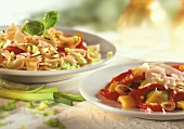 Pepper & courgette salad & farfalle with vegetables & basil