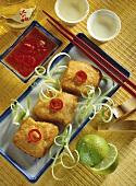 Catfish tempura with honey and chili dip