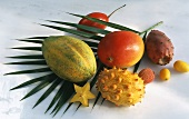 Assorted Exotic Fruit on a Palm Leaf