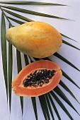 One Whole and One Half of Papaya