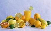 Zitrusfrüchte & ein Glas Obstsaft von Zitrusfrüchten
