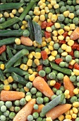 Frozen peas, carrots, sweetcorn, green beans, peppers,
