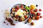 Bowl of Muesli with Fruit and Yogurt