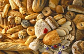 Various white and brown breads and rolls