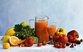 Fruit & vegetable juice & various types of fruit & vegetables