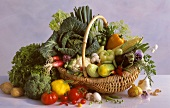 Various types of vegetables in a basket