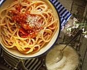 Bucatini with tomato & chili sauce (all amatriciana) & Parmesan