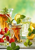 Strawberry drink with mint & lemon drink with lemon balm