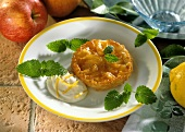 Mini apple tart with lemon crème fraiche and lemon balm
