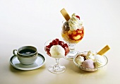 Three different ice cream desserts and cup of coffee