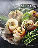 Sole and salmon rolls with spinach