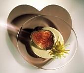 A Slice of Rare Steak in Cream Sauce; Heart