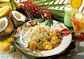 Pork with exotic fruits and coconut rice