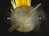 Overhead Shot of Spaghetti Boiling in Water