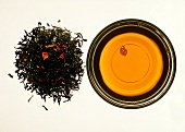 Chinese rose tea; tea leaves and infusion of tea