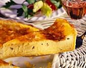 Roquefort quiche on a server