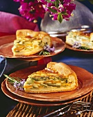 Summer vegetable quiche with green asparagus, carrots