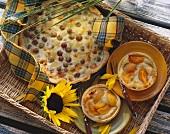 Grape cheese tart and apricot and gorgonzola tarts