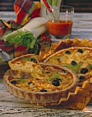 Turkey quiche with fennel, black olives and fennel fronds