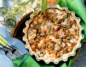 Oyster mushroom and ham quiche in baking dish