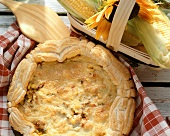 American sweetcorn quiche with mince