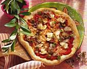 Pizza capricciosa (Oliven, Schinken, Sardellen, Champignons)
