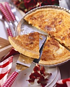 Quiche Lorraine, pieces cut, in the baking dish