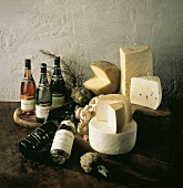 Wine Cheese and Vegetable Still Life