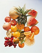 Still Life of Fresh Fruit from Overhead