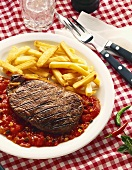 Grilled Steak with Fries and Salsa