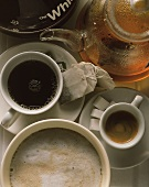 Black coffee, espresso, cappuccino & tea in glass pot