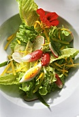 Summer salad with radishes, eggs & flower petals
