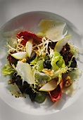 Autumn salad with grapes, pears, walnuts & parmesan