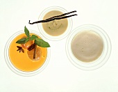 Vanilla sauce, fruit sauce with apricots & whipped wine sauce