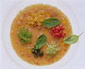 Gazpacho andaluz with vegetable & bread cubes, capers & basil