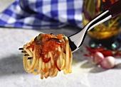 Spaghetti alla puttanesca (with capers, tomatoes, olives)