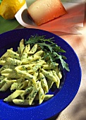 Penne with rocket pesto, pecorino and rocket leaves