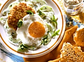 Poultry frikadellas, fried egg & yoghurt sauce with cucumber