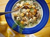 Thick Chicken Soup with Croutons and Mushrooms
