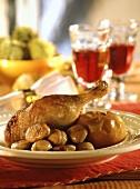 Christmas goose with baked apples and glazed chestnuts