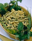 Pasta con salsa verde (Pasta with green herb sauce)