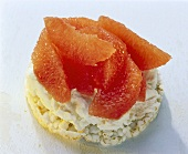 Rice waffle with pink grapefruit & low-fat quark