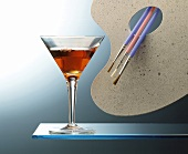 Picasso cocktail (with cognac and Dubonnet in glass)