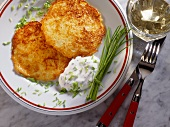 Potato pancake with apple, onion & chive sauce